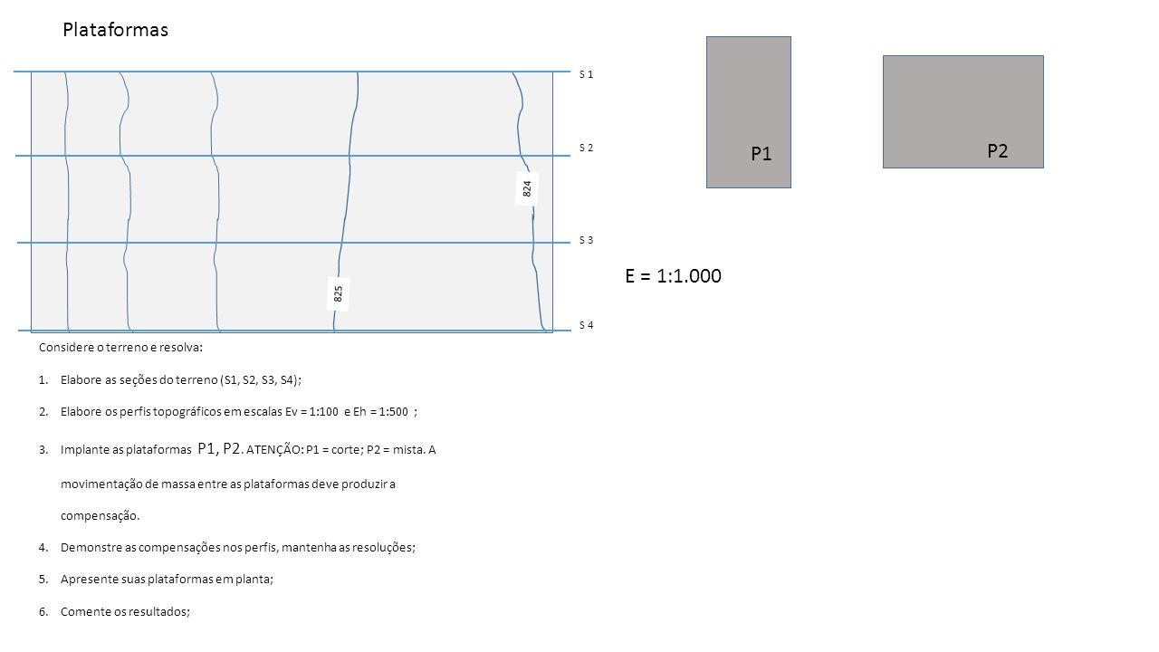 Plataformas P1 P2 E = 1:1.000 Considere o terreno e resolva: