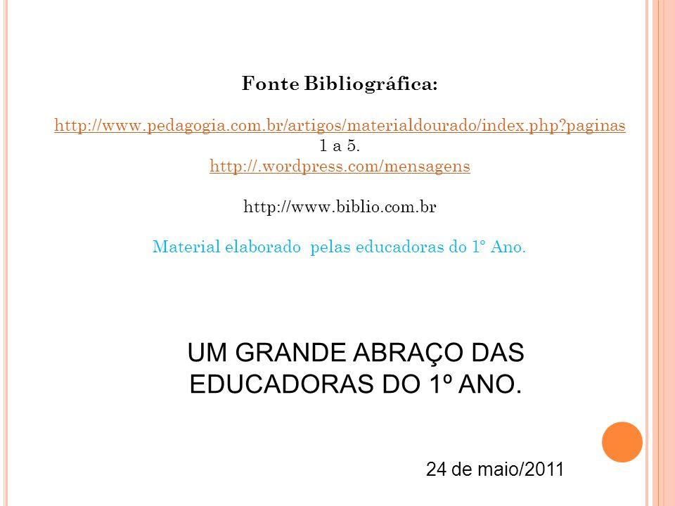 UM GRANDE ABRAÇO DAS EDUCADORAS DO 1º ANO.