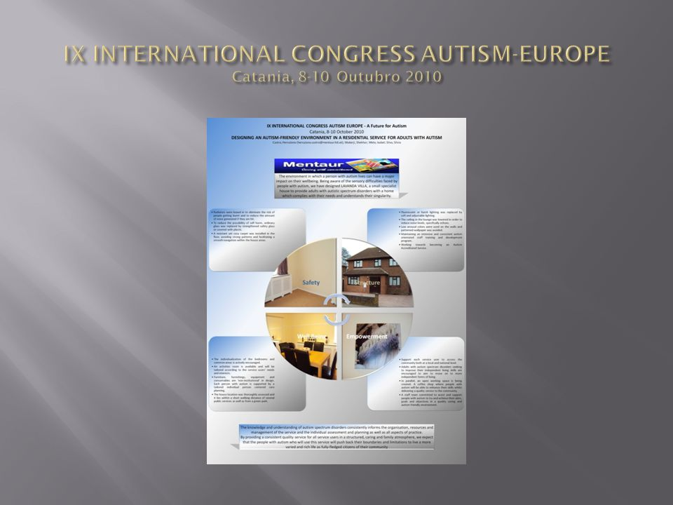 IX INTERNATIONAL CONGRESS AUTISM-EUROPE Catania, 8-10 Outubro 2010