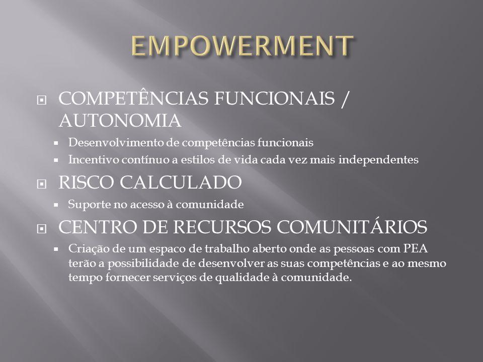 EMPOWERMENT COMPETÊNCIAS FUNCIONAIS / AUTONOMIA RISCO CALCULADO
