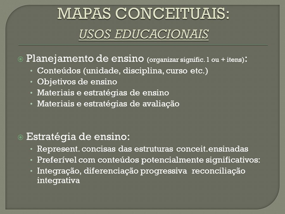 MAPAS CONCEITUAIS: usos educacionais
