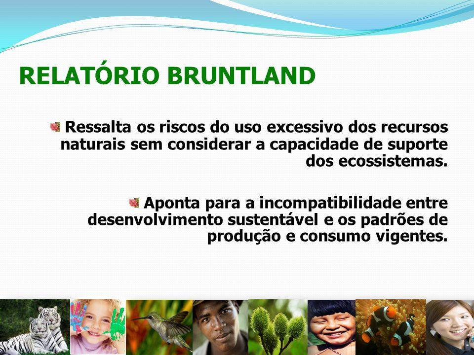 RELATÓRIO BRUNTLAND Ressalta os riscos do uso excessivo dos recursos naturais sem considerar a capacidade de suporte dos ecossistemas.