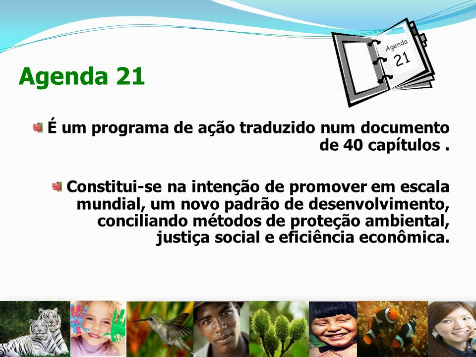 Agenda 21 É um programa de ação traduzido num documento de 40 capítulos .
