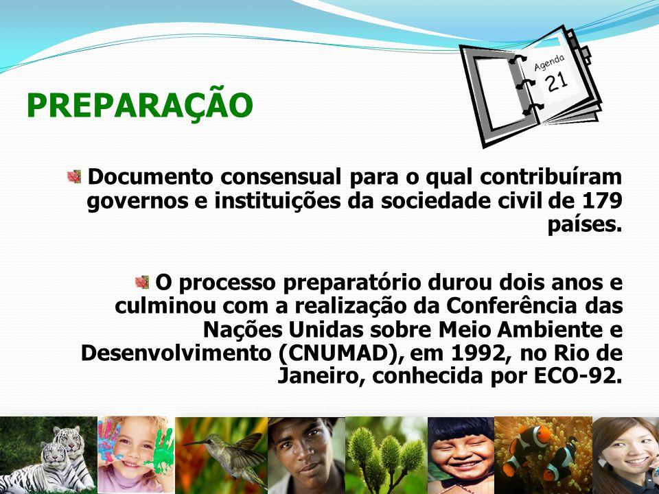 PREPARAÇÃO Documento consensual para o qual contribuíram governos e instituições da sociedade civil de 179 países.