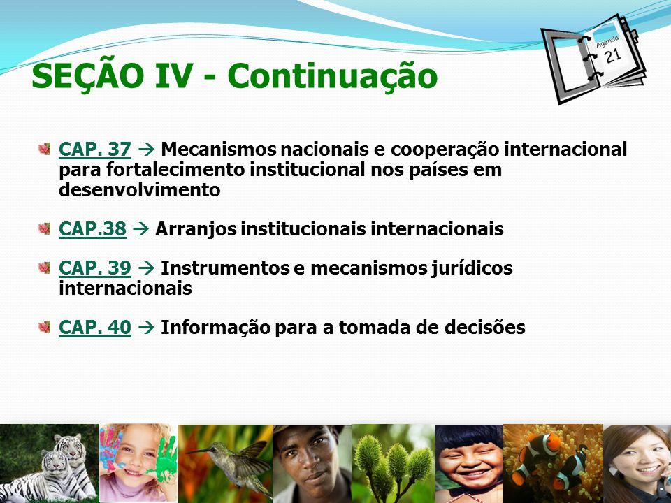 SEÇÃO IV - Continuação CAP. 37  Mecanismos nacionais e cooperação internacional para fortalecimento institucional nos países em desenvolvimento.