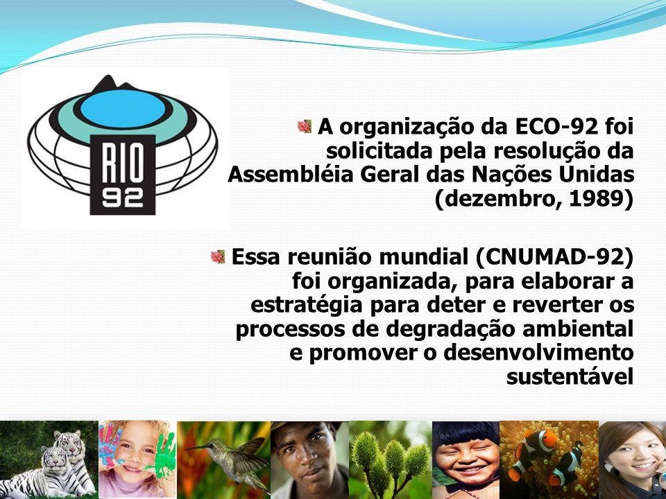 A organização da ECO-92 foi solicitada pela resolução da Assembléia Geral das Nações Unidas (dezembro, 1989)