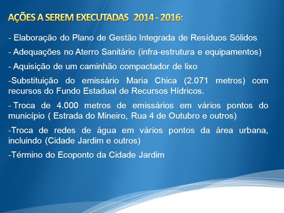 AÇÕES A SEREM EXECUTADAS 2014 - 2016: