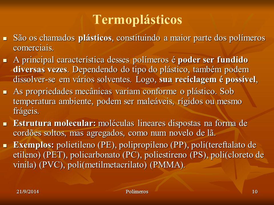 Termoplásticos São os chamados plásticos, constituindo a maior parte dos polímeros comerciais.