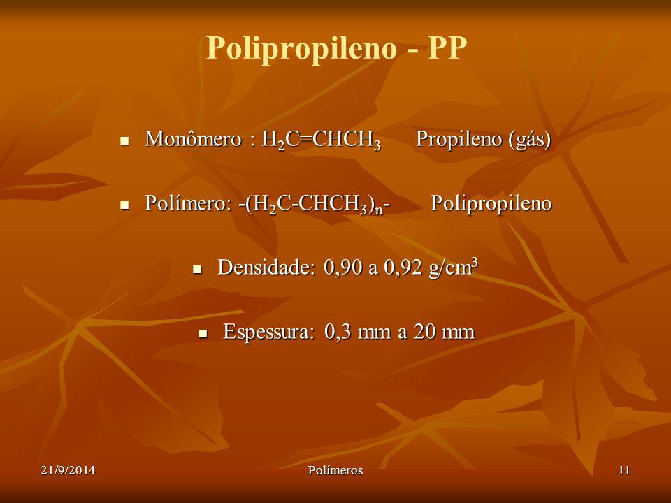 Polipropileno - PP Monômero : H2C=CHCH3 Propileno (gás)