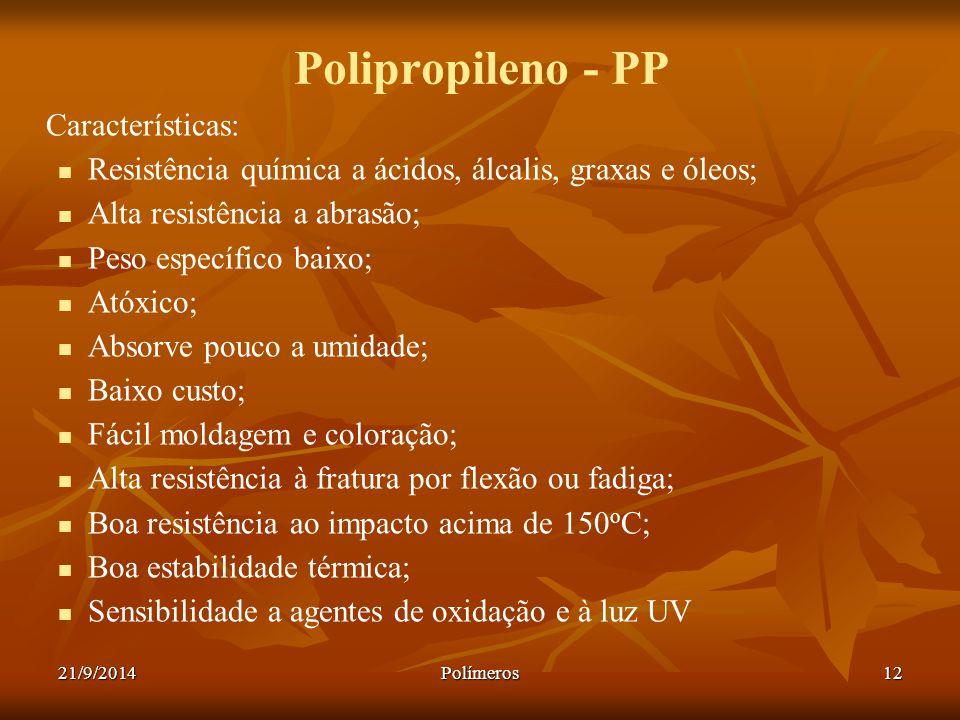 Polipropileno - PP Características: