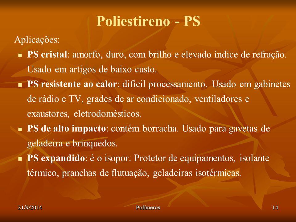 Poliestireno - PS Aplicações: