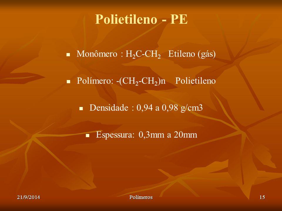 Polietileno - PE Monômero : H2C-CH2 Etileno (gás)