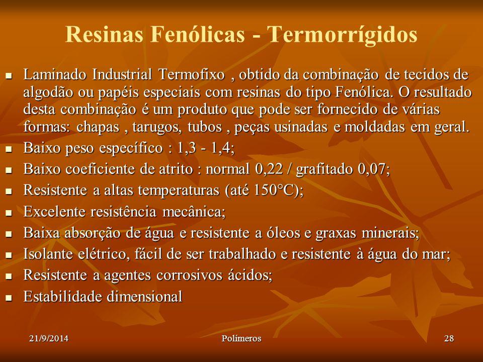Resinas Fenólicas - Termorrígidos
