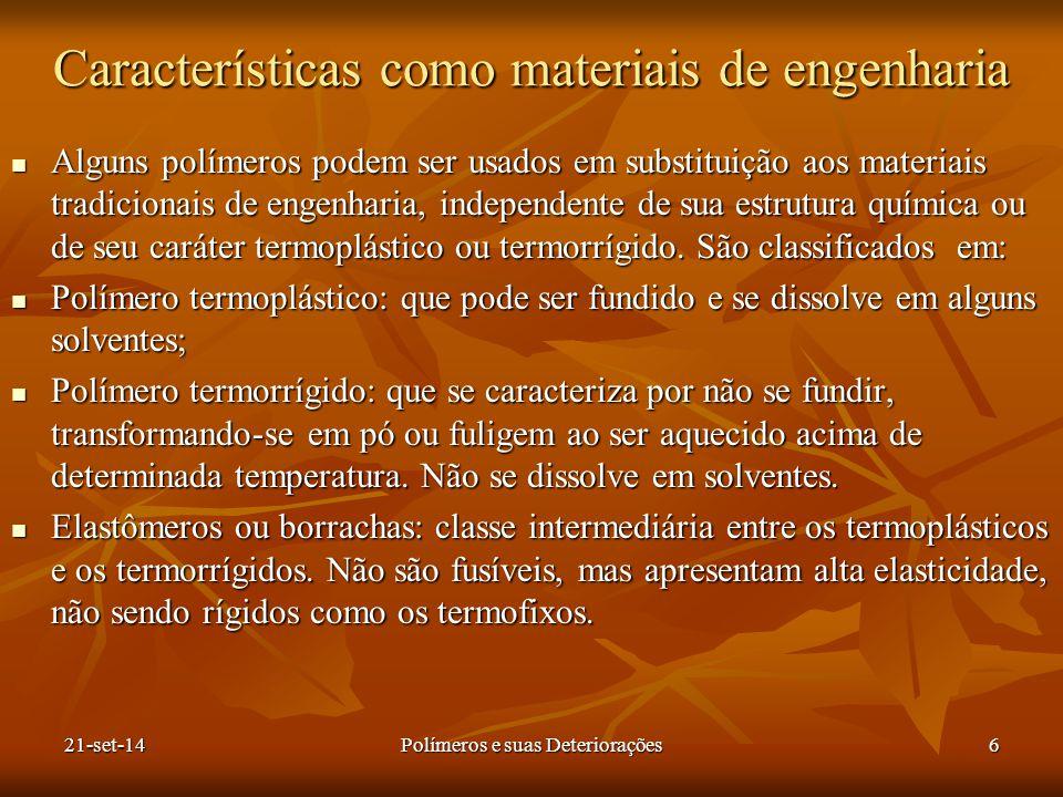 Características como materiais de engenharia