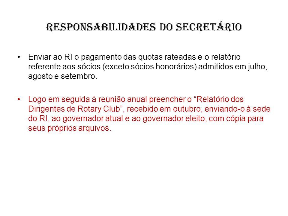 responsabilidades do Secretário
