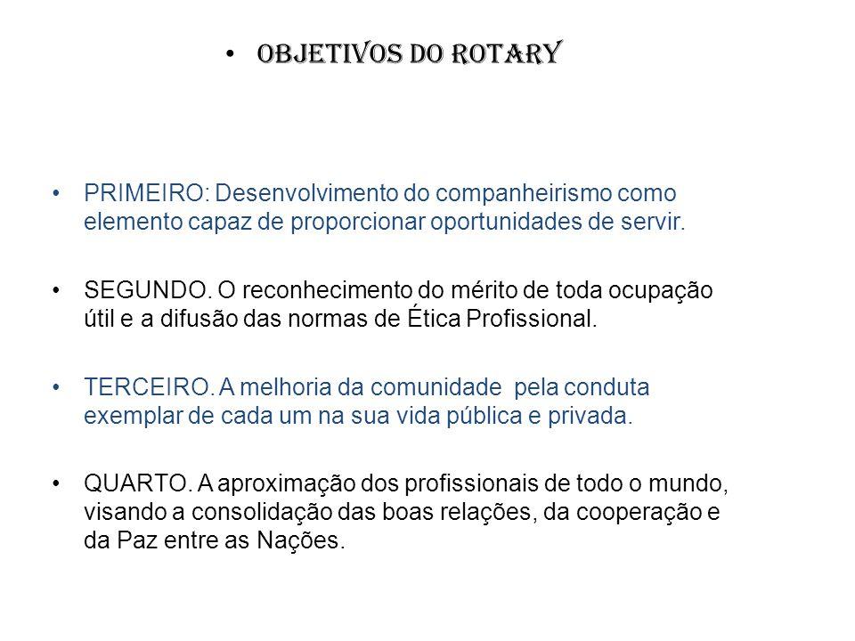 Objetivos do Rotary PRIMEIRO: Desenvolvimento do companheirismo como elemento capaz de proporcionar oportunidades de servir.