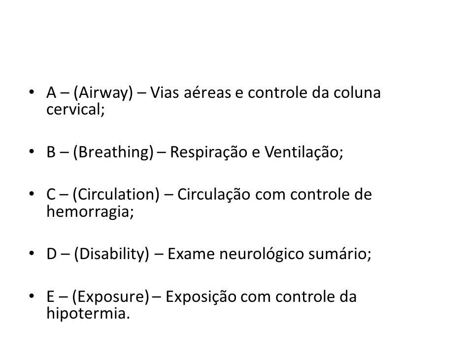 A – (Airway) – Vias aéreas e controle da coluna cervical;