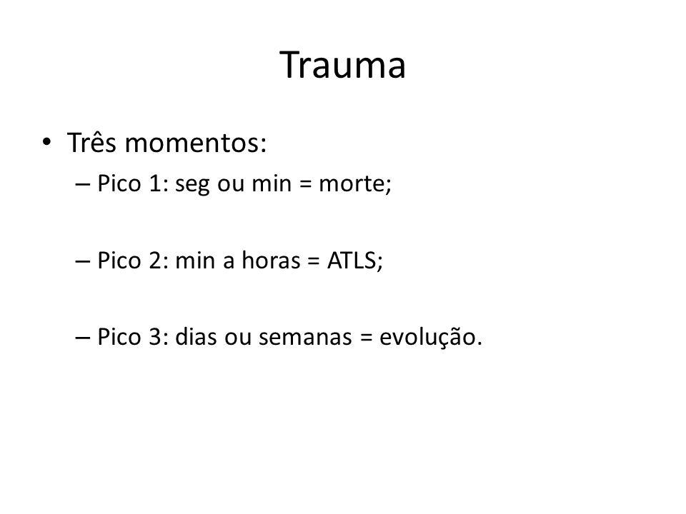 Trauma Três momentos: Pico 1: seg ou min = morte;