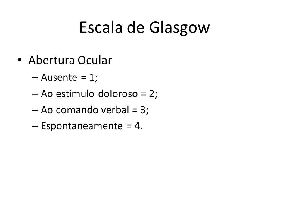 Escala de Glasgow Abertura Ocular Ausente = 1;