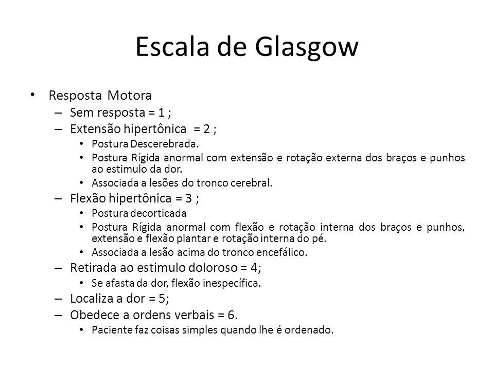 Escala de Glasgow Resposta Motora Sem resposta = 1 ;