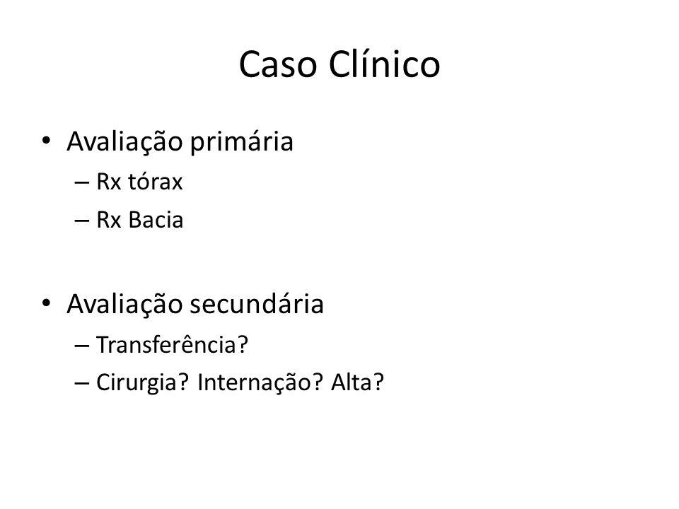 Caso Clínico Avaliação primária Avaliação secundária Rx tórax Rx Bacia