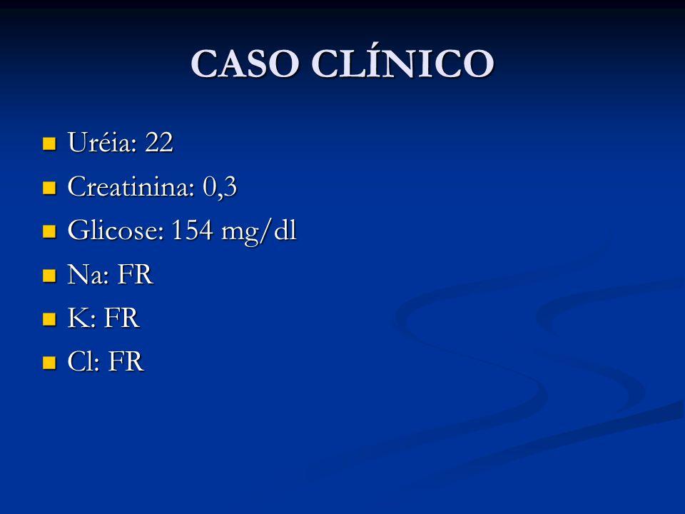 CASO CLÍNICO Uréia: 22 Creatinina: 0,3 Glicose: 154 mg/dl Na: FR K: FR