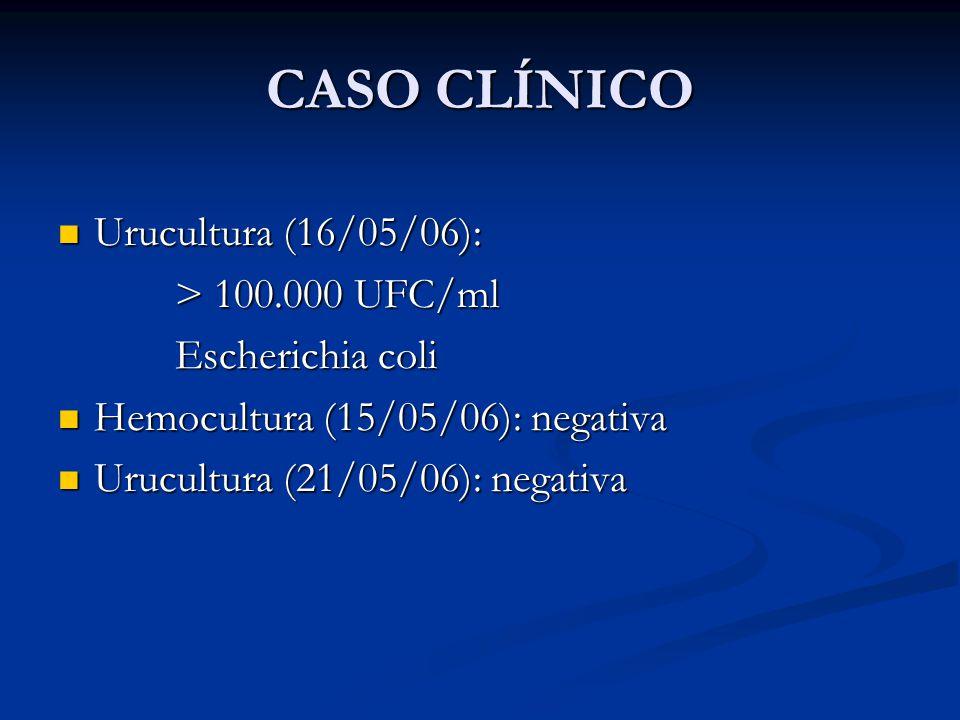 CASO CLÍNICO Urucultura (16/05/06): > 100.000 UFC/ml