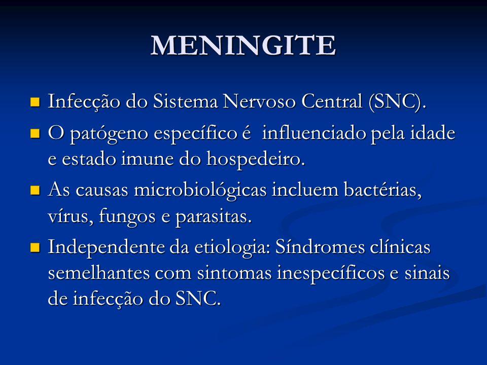 MENINGITE Infecção do Sistema Nervoso Central (SNC).