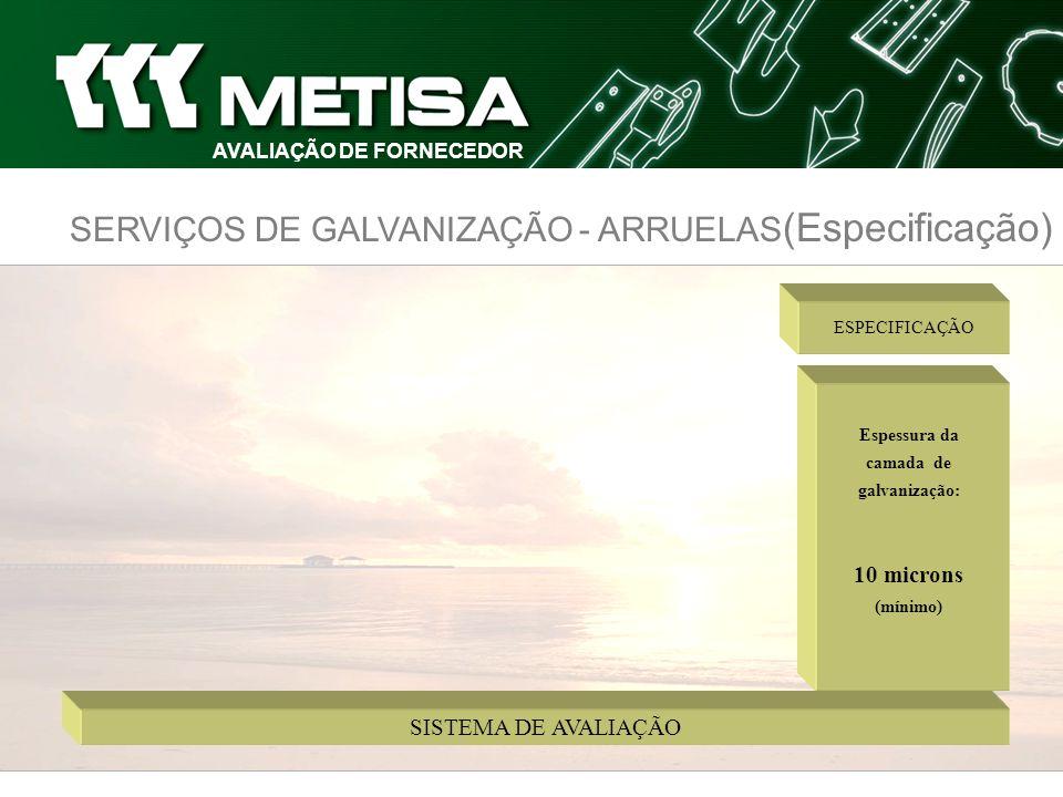 AVALIAÇÃO DE FORNECEDOR Espessura da camada de galvanização: