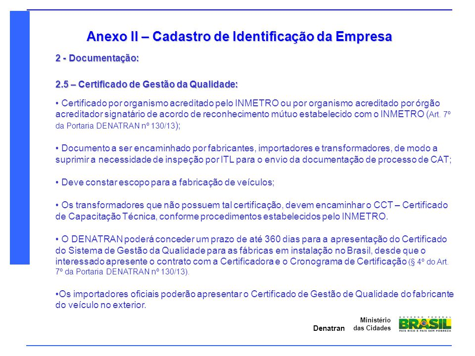 Anexo II – Cadastro de Identificação da Empresa
