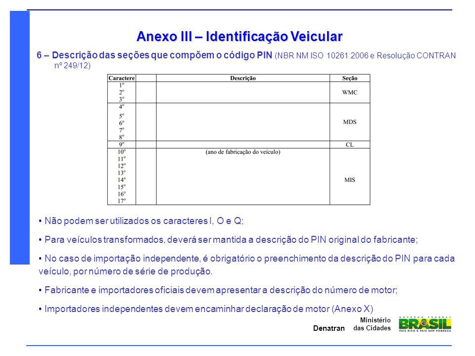 Anexo III – Identificação Veicular