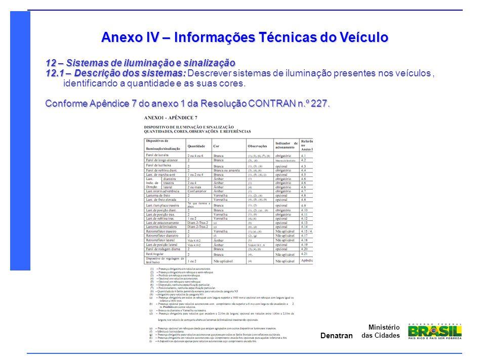 Anexo IV – Informações Técnicas do Veículo