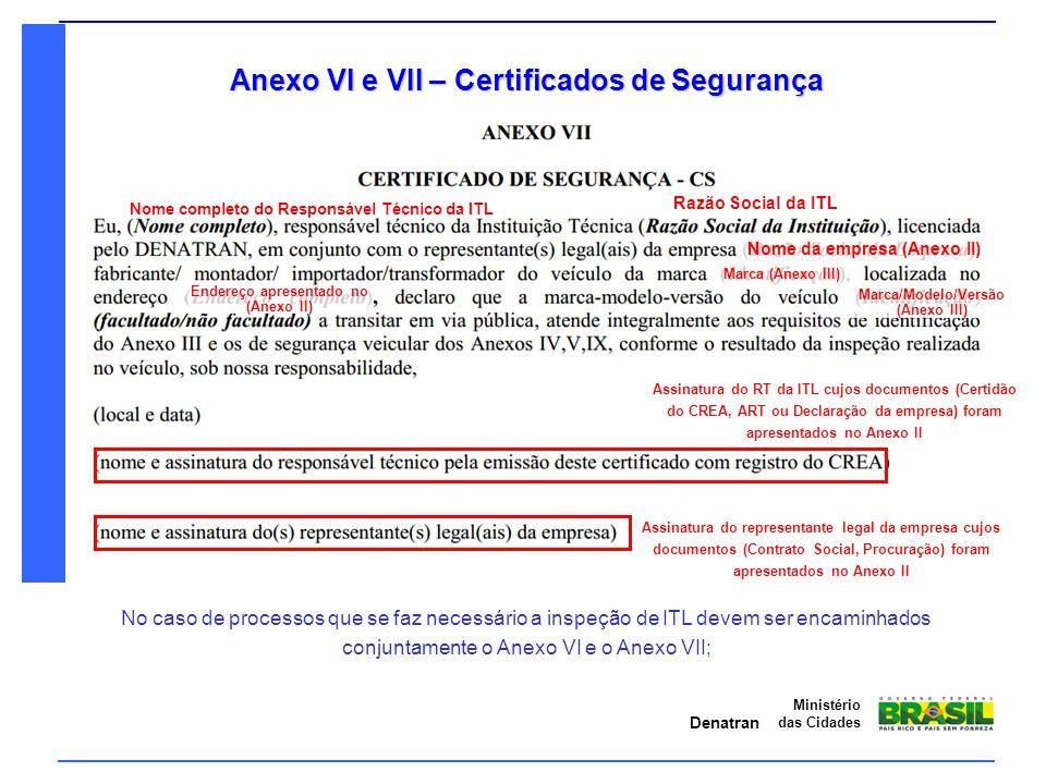 Anexo VI e VII – Certificados de Segurança