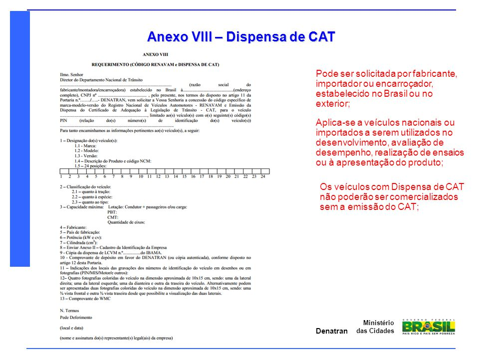 Anexo VIII – Dispensa de CAT