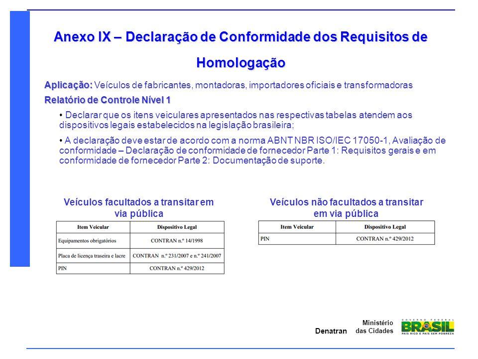Anexo IX – Declaração de Conformidade dos Requisitos de Homologação