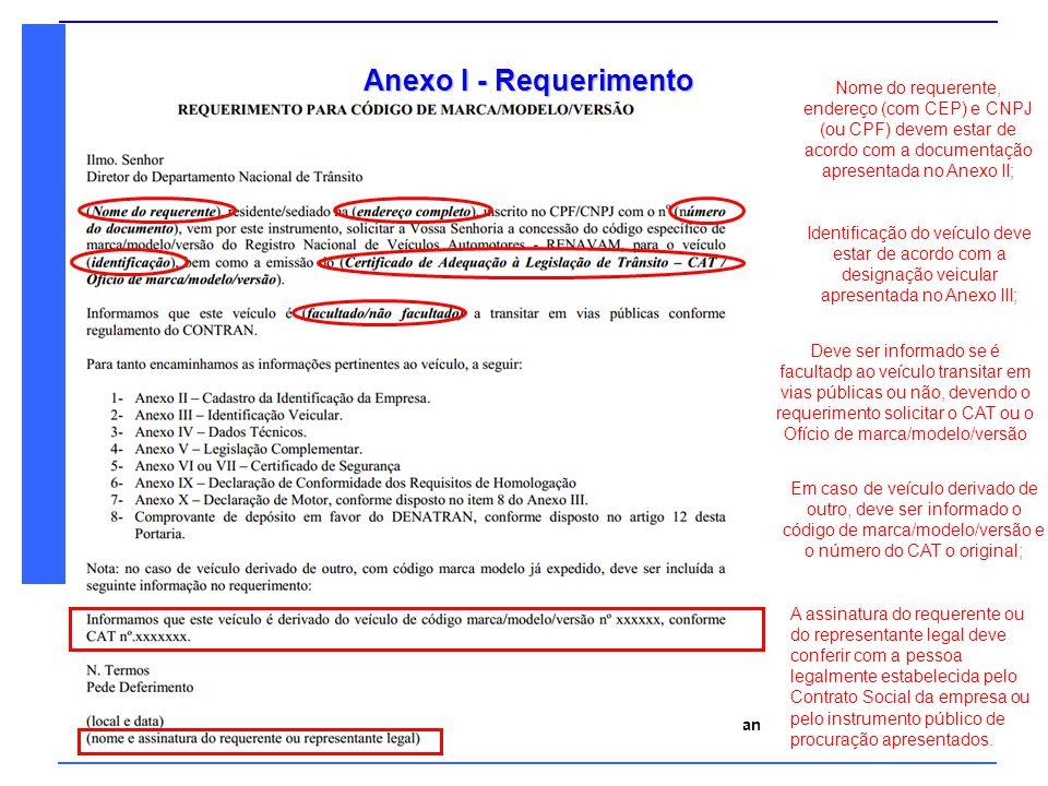 Anexo I - Requerimento Nome do requerente, endereço (com CEP) e CNPJ (ou CPF) devem estar de acordo com a documentação apresentada no Anexo II;