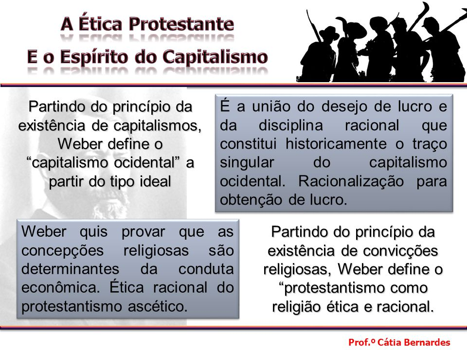 Partindo do princípio da existência de capitalismos, Weber define o capitalismo ocidental a partir do tipo ideal
