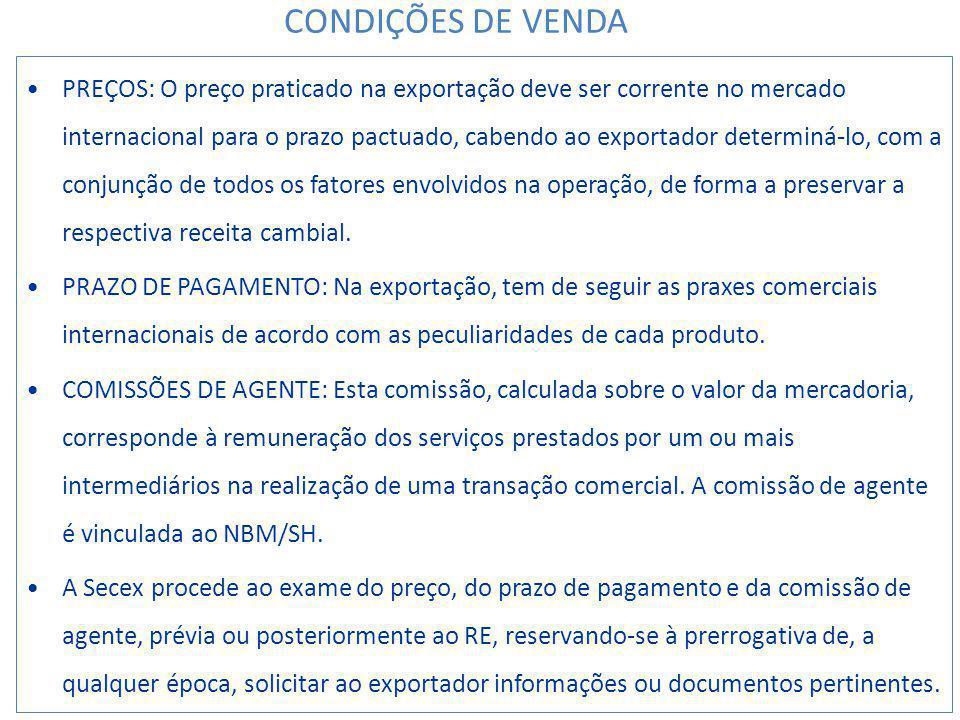CONDIÇÕES DE VENDA
