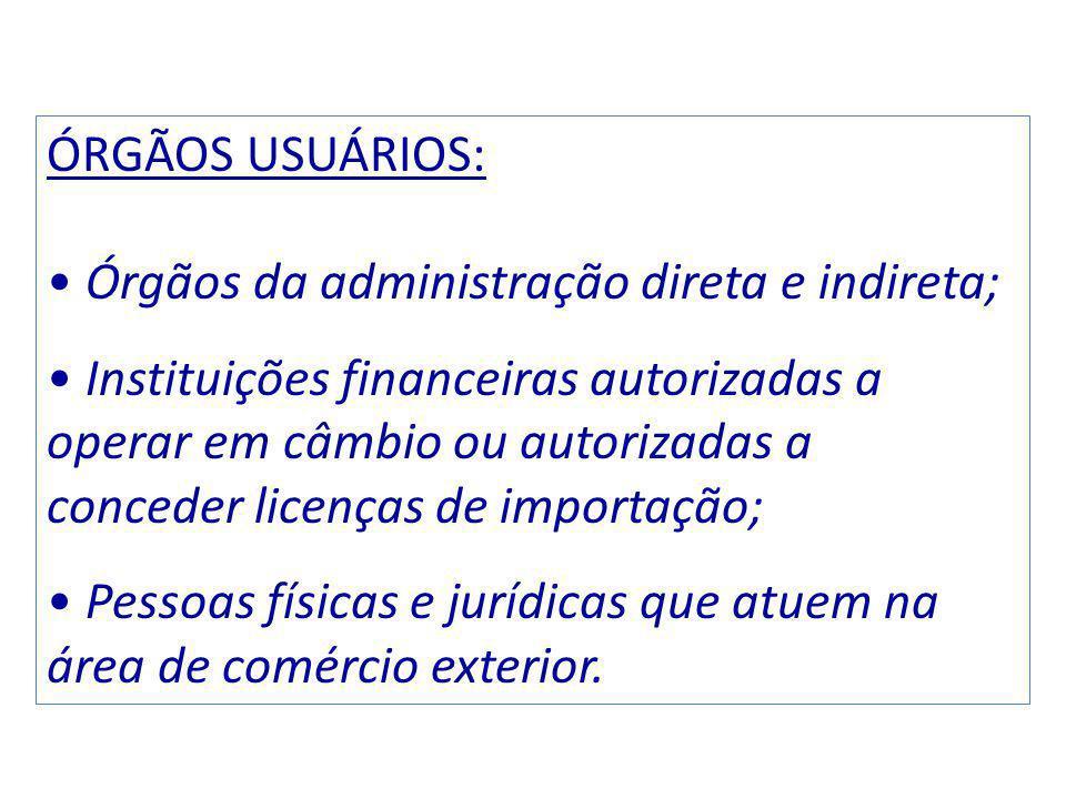 ÓRGÃOS USUÁRIOS: Órgãos da administração direta e indireta;