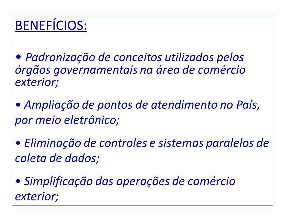 BENEFÍCIOS: Padronização de conceitos utilizados pelos órgãos governamentais na área de comércio exterior;