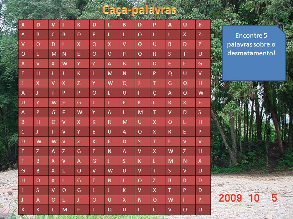 Encontre 5 palavras sobre o desmatamento!