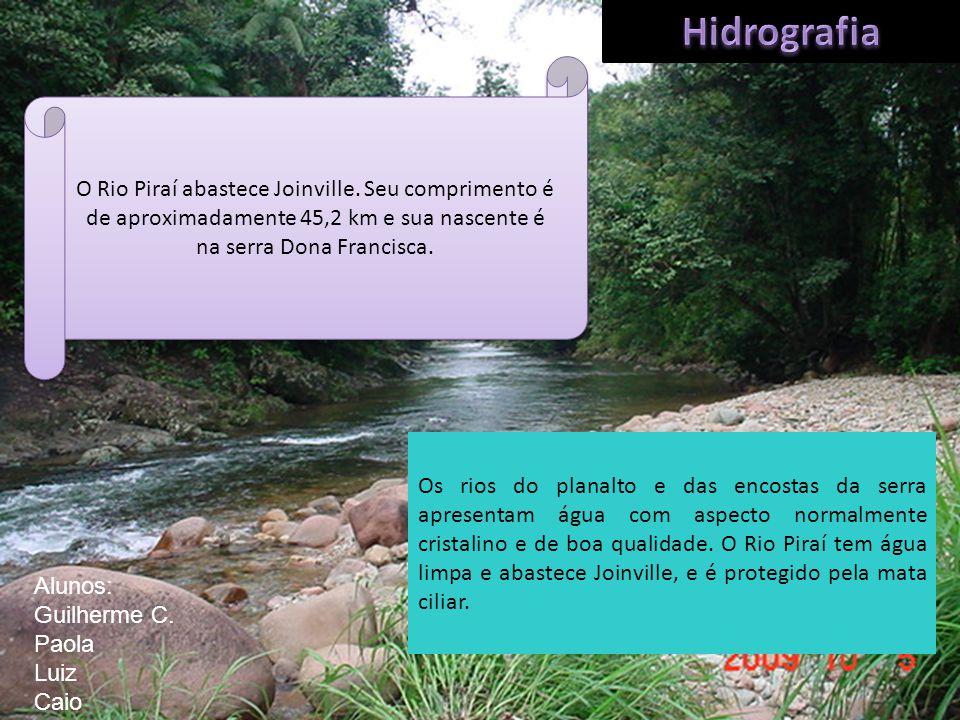 Hidrografia O Rio Piraí abastece Joinville. Seu comprimento é de aproximadamente 45,2 km e sua nascente é na serra Dona Francisca.