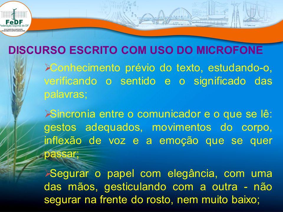 DISCURSO ESCRITO COM USO DO MICROFONE