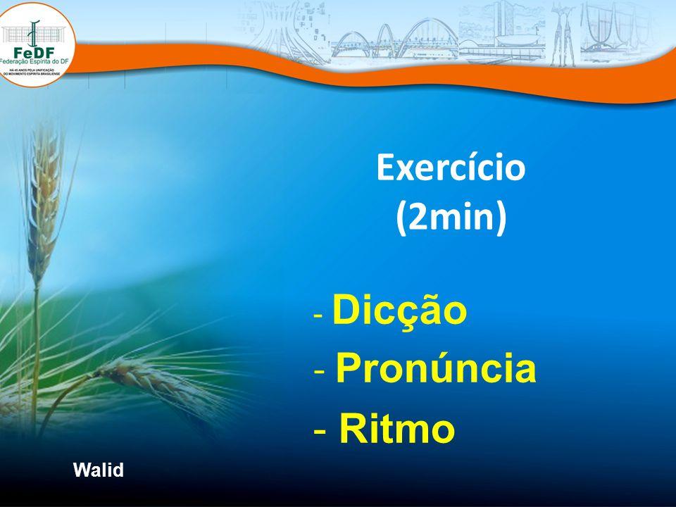 Exercício (2min) Dicção Pronúncia Ritmo Walid