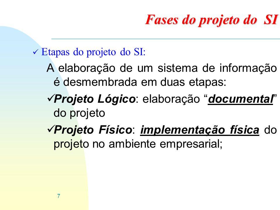 Fases do projeto do SI Etapas do projeto do SI: A elaboração de um sistema de informação é desmembrada em duas etapas: