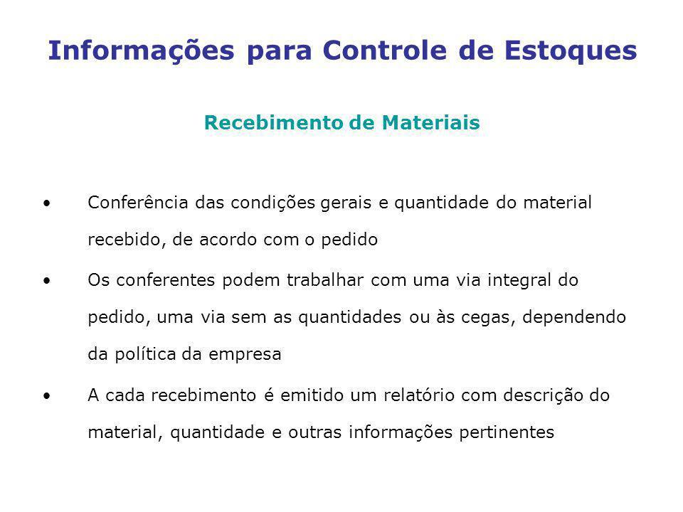 Informações para Controle de Estoques Recebimento de Materiais