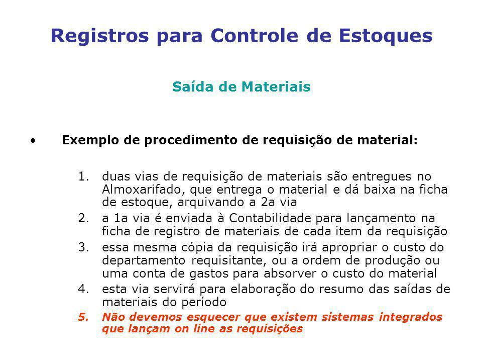 Registros para Controle de Estoques