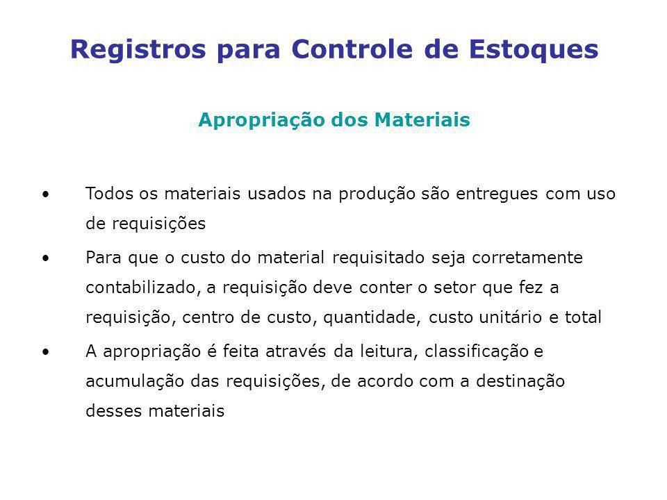 Registros para Controle de Estoques Apropriação dos Materiais