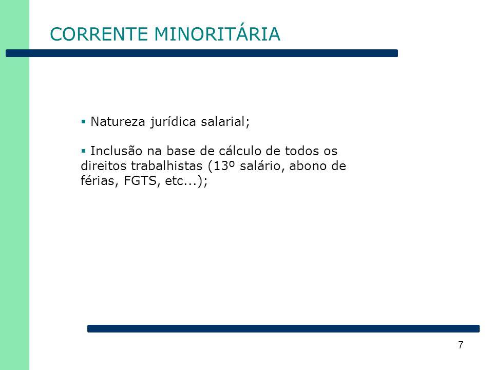 CORRENTE MINORITÁRIA Natureza jurídica salarial;