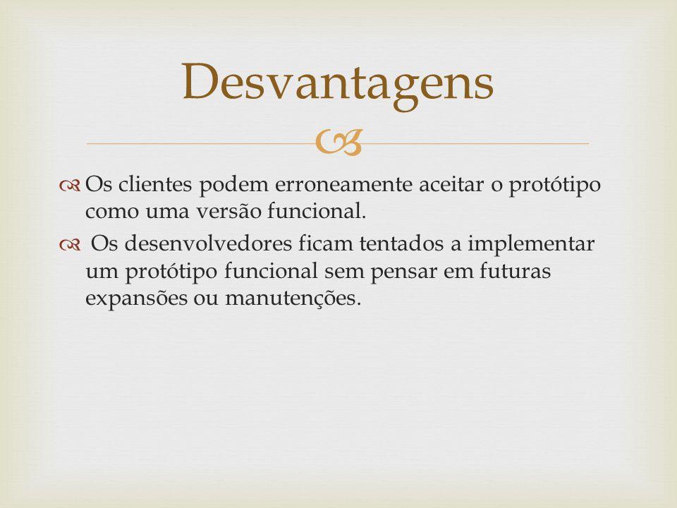 Desvantagens Os clientes podem erroneamente aceitar o protótipo como uma versão funcional.